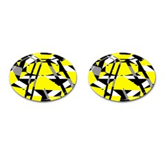 Yellow, Black And White Pieces Abstract Design Cufflinks (oval) by LalyLauraFLM