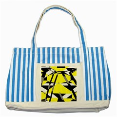 Yellow, Black And White Pieces Abstract Design Striped Blue Tote Bag by LalyLauraFLM