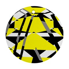 Yellow, Black And White Pieces Abstract Design Round Ornament (two Sides) by LalyLauraFLM