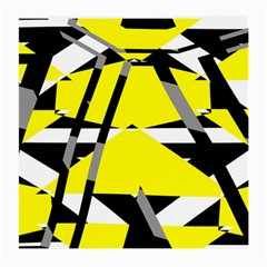 Yellow, black and white pieces abstract design Glasses Cloth (Medium, Two Sides) by LalyLauraFLM