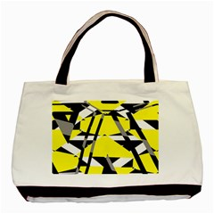 Yellow, Black And White Pieces Abstract Design Classic Tote Bag (two Sides) by LalyLauraFLM