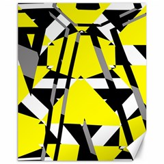 Yellow, Black And White Pieces Abstract Design Canvas 11  X 14  by LalyLauraFLM