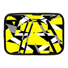 Yellow, Black And White Pieces Abstract Design Netbook Case (medium) by LalyLauraFLM