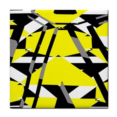 Yellow, Black And White Pieces Abstract Design Face Towel by LalyLauraFLM