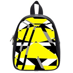 Yellow, Black And White Pieces Abstract Design School Bag (small) by LalyLauraFLM