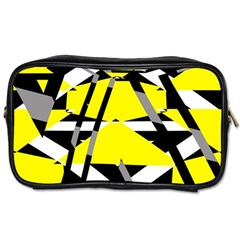 Yellow, Black And White Pieces Abstract Design Toiletries Bag (two Sides) by LalyLauraFLM