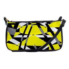 Yellow, Black And White Pieces Abstract Design Shoulder Clutch Bag by LalyLauraFLM