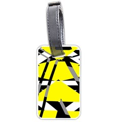 Yellow, Black And White Pieces Abstract Design Luggage Tag (two Sides) by LalyLauraFLM