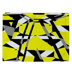 Yellow, Black And White Pieces Abstract Design Cosmetic Bag (xxl) by LalyLauraFLM