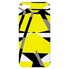 Yellow, Black And White Pieces Abstract Design Apple Iphone 5 Hardshell Case by LalyLauraFLM