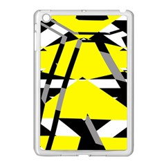 Yellow, Black And White Pieces Abstract Design Apple Ipad Mini Case (white) by LalyLauraFLM