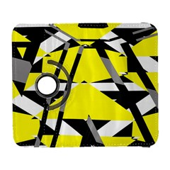 Yellow, Black And White Pieces Abstract Design Samsung Galaxy S  Iii Flip 360 Case by LalyLauraFLM