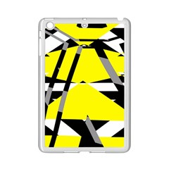 Yellow, Black And White Pieces Abstract Design Apple Ipad Mini 2 Case (white) by LalyLauraFLM