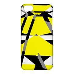 Yellow, Black And White Pieces Abstract Design Apple Iphone 5c Hardshell Case by LalyLauraFLM