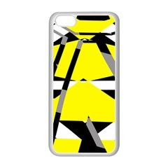 Yellow, Black And White Pieces Abstract Design Apple Iphone 5c Seamless Case (white) by LalyLauraFLM