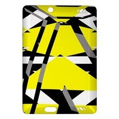 Yellow, Black And White Pieces Abstract Design Kindle Fire Hd (2013) Hardshell Case by LalyLauraFLM