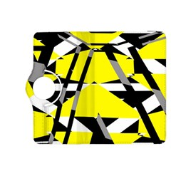 Yellow, Black And White Pieces Abstract Design Kindle Fire Hdx 8 9  Flip 360 Case by LalyLauraFLM