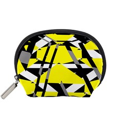 Yellow, Black And White Pieces Abstract Design Accessory Pouch (small) by LalyLauraFLM