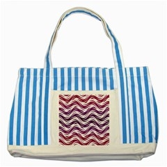 Purple Waves Pattern Striped Blue Tote Bag by LalyLauraFLM
