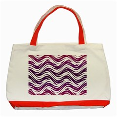 Purple Waves Pattern Classic Tote Bag (red) by LalyLauraFLM