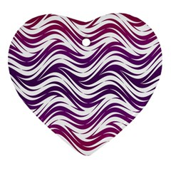 Purple Waves Pattern Heart Ornament (two Sides) by LalyLauraFLM