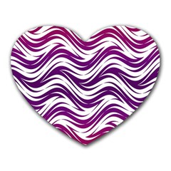 Purple Waves Pattern Heart Mousepad by LalyLauraFLM