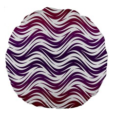 Purple Waves Pattern 18  Premium Round Cushion  by LalyLauraFLM