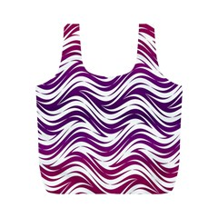 Purple Waves Pattern Full Print Recycle Bag (m) by LalyLauraFLM