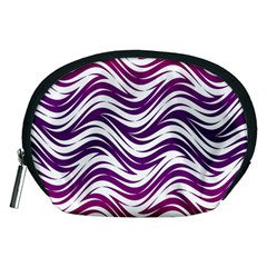 Purple Waves Pattern Accessory Pouch (medium) by LalyLauraFLM