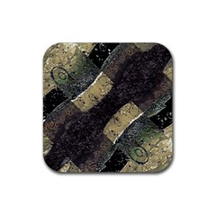 Geometric Abstract Grunge Prints In Cold Tones Drink Coaster (square) by dflcprints