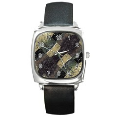 Geometric Abstract Grunge Prints In Cold Tones Square Leather Watch by dflcprints