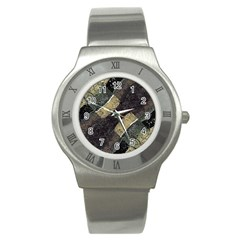 Geometric Abstract Grunge Prints In Cold Tones Stainless Steel Watch (slim) by dflcprints