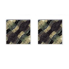Geometric Abstract Grunge Prints in Cold Tones Cufflinks (Square) by dflcprints