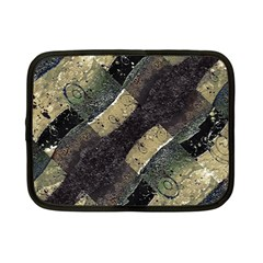 Geometric Abstract Grunge Prints In Cold Tones Netbook Sleeve (small) by dflcprints