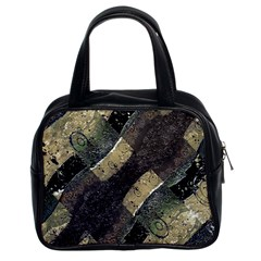 Geometric Abstract Grunge Prints In Cold Tones Classic Handbag (two Sides) by dflcprints