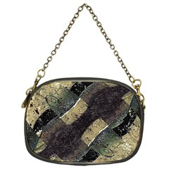 Geometric Abstract Grunge Prints In Cold Tones Chain Purse (one Side) by dflcprints