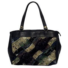 Geometric Abstract Grunge Prints In Cold Tones Oversize Office Handbag (one Side) by dflcprints