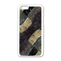 Geometric Abstract Grunge Prints In Cold Tones Apple Iphone 6 White Enamel Case