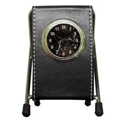 Spider Web Print Grunge Dark Texture Stationery Holder Clock by dflcprints