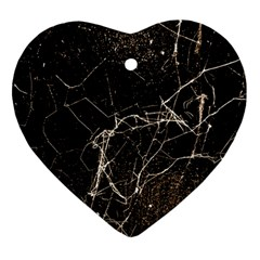 Spider Web Print Grunge Dark Texture Heart Ornament (two Sides) by dflcprints