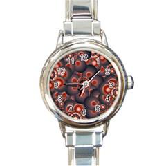 Modern Floral Decorative Pattern Print Round Italian Charm Watch by dflcprints