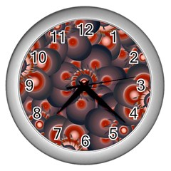 Modern Floral Decorative Pattern Print Wall Clock (silver) by dflcprints