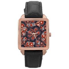 Modern Floral Decorative Pattern Print Rose Gold Leather Watch  by dflcprints