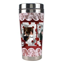 Red And White Rose Stainless Steel Travel Tumbler By Kim Blair   Stainless Steel Travel Tumbler   3fy7btul6m6e   Www Artscow Com Left