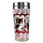 Red and white Rose Stainless Steel Travel Tumbler