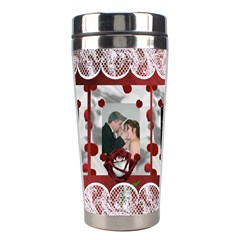 Red And White Rose Stainless Steel Travel Tumbler By Kim Blair   Stainless Steel Travel Tumbler   3fy7btul6m6e   Www Artscow Com Center