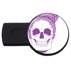 Purple Skull Bun Up 2gb Usb Flash Drive (round) by vividaudacity
