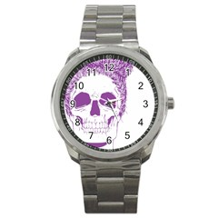 Purple Skull Bun Up Sport Metal Watch by vividaudacity