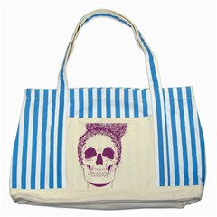 Purple Skull Bun Up Blue Striped Tote Bag by vividaudacity