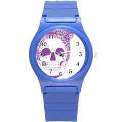 Purple Skull Bun Up Plastic Sport Watch (small) by vividaudacity